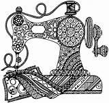 Coloring Adult Zentangle Sewing Machine Mandala Drawings Sheets Doodle Drawing Zentangles Cricut sketch template