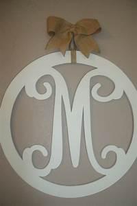 Wood monogram 20 inch vine letters burlap bow initial door for Initial letter door hangers