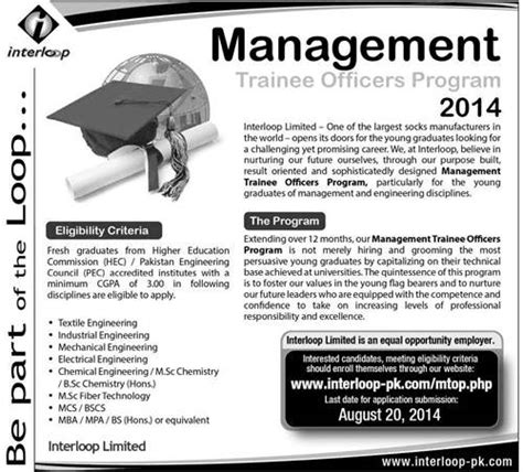 open 2014 in interloop limited for management trainee