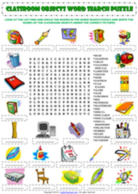 classroom objects esl printable worksheets  exercises
