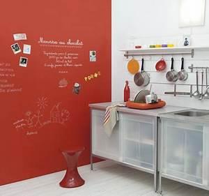 Deco Mur Cuisine : peinture tableau rouge sur mur cuisine gribouille ~ Teatrodelosmanantiales.com Idées de Décoration