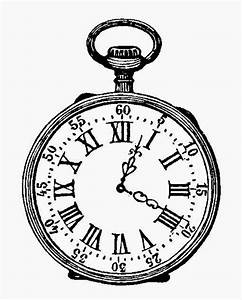 ArtzeeCCC: Pocket Watch Black and White Ink Drawing vintage