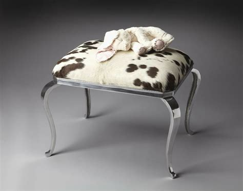 Cowhide Footstool by Rustic Cowhide Cushioned Ottoman Footstool Animal Hair On