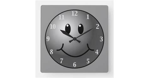 Gray And Black Smiley Emoji Face Wall Clock