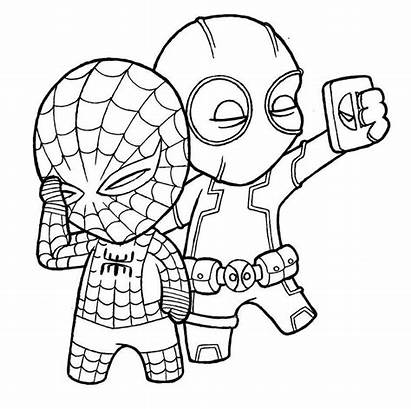 Spiderman Coloring Pages Deadpool Printable Ecolorings Info