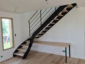 Escalier 4 Marches : escalier 1 4 tournant en acier thermolaqu noir et marches en fr ne avec bureau int gr au ~ Melissatoandfro.com Idées de Décoration