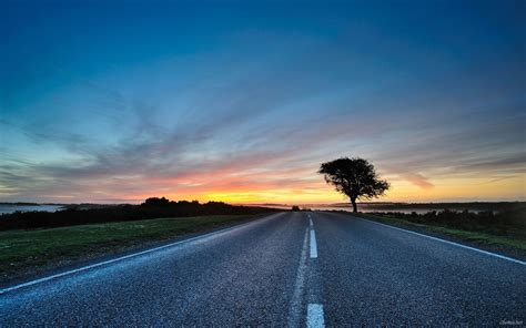Beautiful Landscape With The Sunset Over The Road Hd