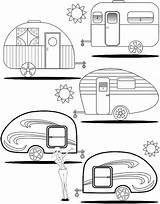 Camper Coloring Pages Campers Trailers Rv Retro Teardrop Trailer Adult Camping Etsy Happy Printable Travel Colouring Quilt Theme Camp Books sketch template