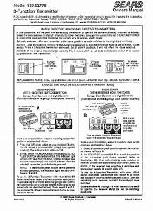 Craftsman 139 53778 Garage Door Opener Owner U0026 39 S Manual Pdf