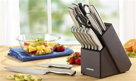 knife kitchen sets farberware stamped discount stainless block piece steel