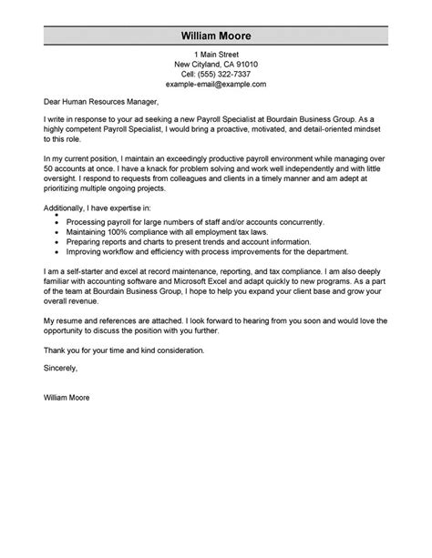 Payroll Specialist Resume Cover Letter by Best Payroll Specialist Cover Letter Exles Livecareer