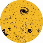 Aesthetic Yellow Planets Transparent Icon Sticker Clipart