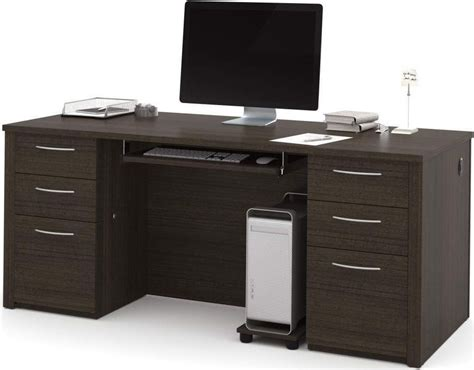 embassy chocolate 71 quot executive desk kit from bestar