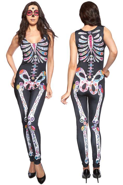 Ladies Skeleton Bone Sexy Outfit Romper Jumpsuit Skeleton Bodysuit Fancy Dress | eBay