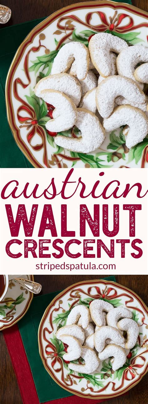 Traditional austrian christmas cookies, austrian crescent cookies, austrian butter cookies recipes, austrian biscuits brands, linzer biscuits recipe, austrian wafer biscuits, austrian vanillekipferl. Austrian Walnut Crescents | Walnut Crescent Cookies ...