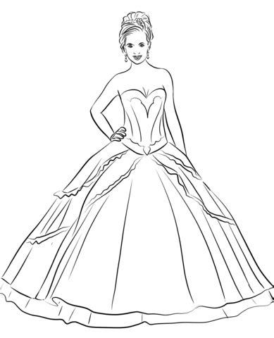 Descubre miles de vectores gratis y libres de derechos en freepik. Quinceanera Dress coloring page | Free Printable Coloring ...
