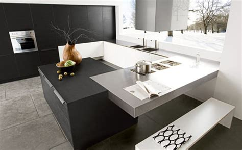 contemporary kitchen simple modern black white design