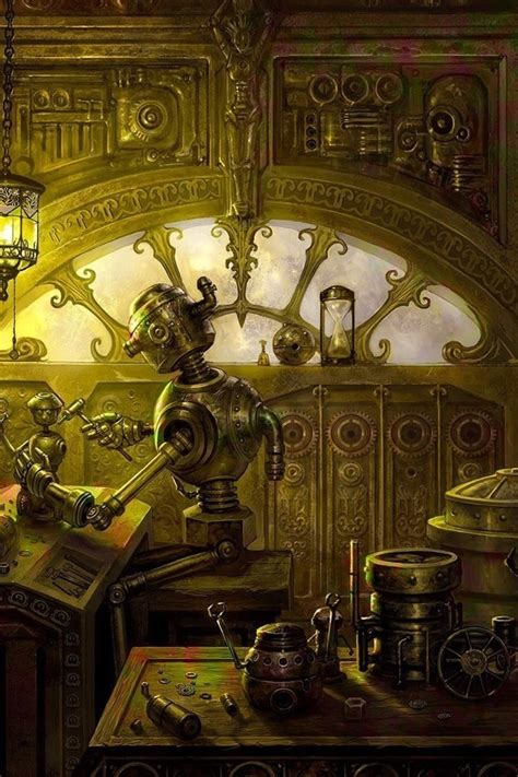tinker digital art robots steampunk wallpaper