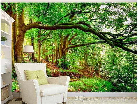 beautiful forest tree evergreen tree mural  wallpaper