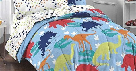Dinosaur T-rex Tracks Twin Comforter Sheets Bed-in-bag