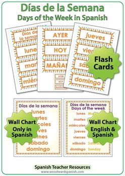days   week  spanish worksheets wall charts