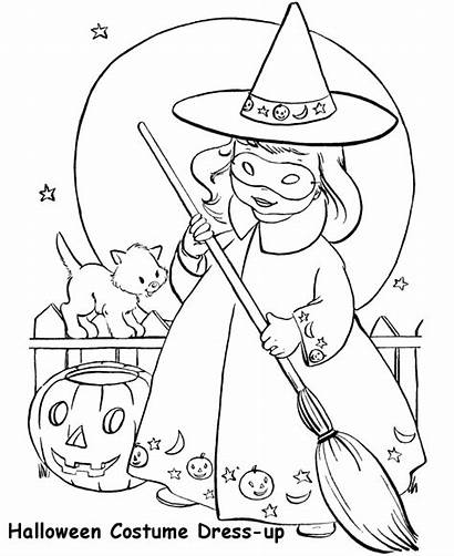 Coloring Halloween Costume Witch Sheets Costumes Pages