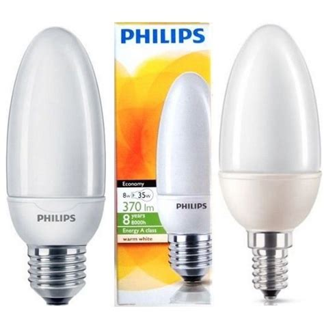 philips candle cfl light bulb 5w 8w 12w es e27 low energy