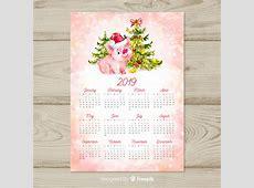 Calendario de año nuevo chino 2019 en acuarela Descargar