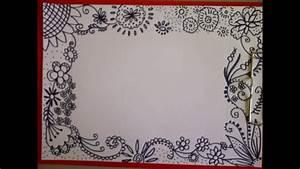 Schöne Muster Zum Selber Malen : zentangle zeichnung zeitraffer sch ne verzierung muster f r eine karte how to draw ~ Orissabook.com Haus und Dekorationen