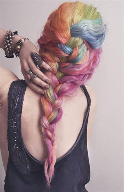 Pastel Rainbow Braided Hair Hair Colors Ideas