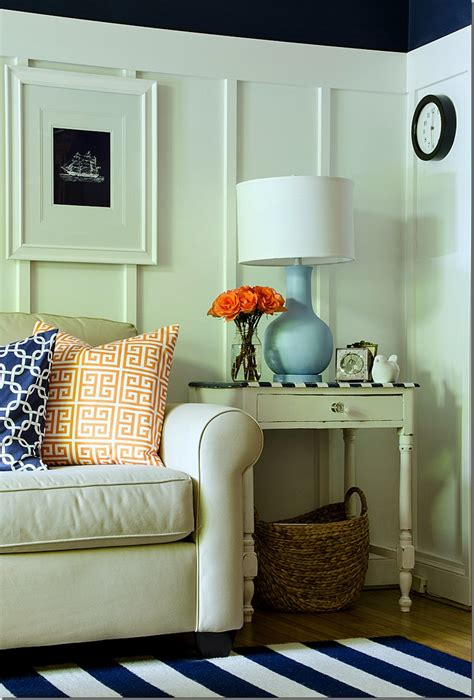 navy and white board batten living room design