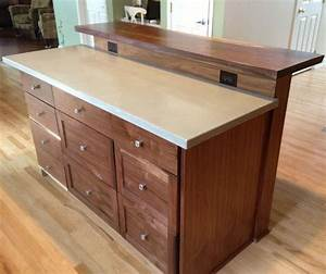 Custom Kitchen Island With Slab Bar Top by Saw Tooth