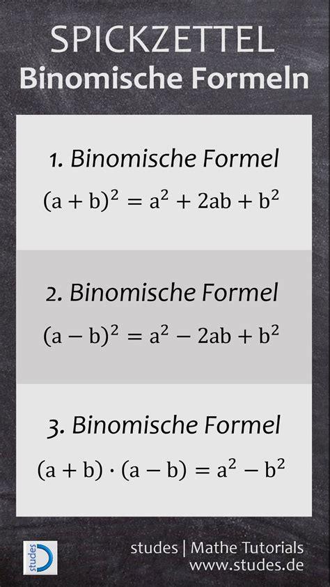 binomische formeln spicker lernen mathe nachhilfe