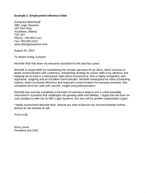 employee reference letter samples   examples