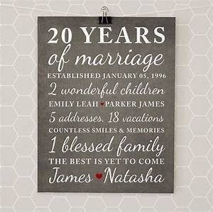 20th wedding anniversary gift ideas for her rustic With 20 year wedding anniversary gifts for her