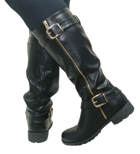 womens biker boots fashion womens knee high flat low chunky heel wide fit biker