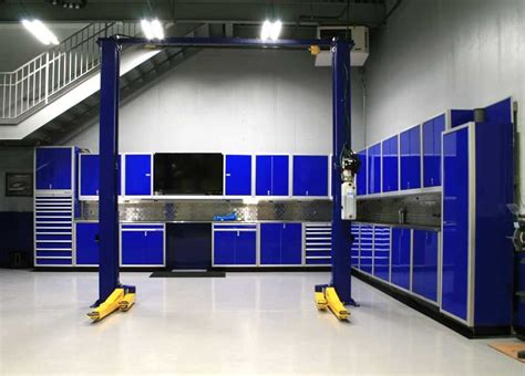 moduline blue garage workbench tool cabinets garage