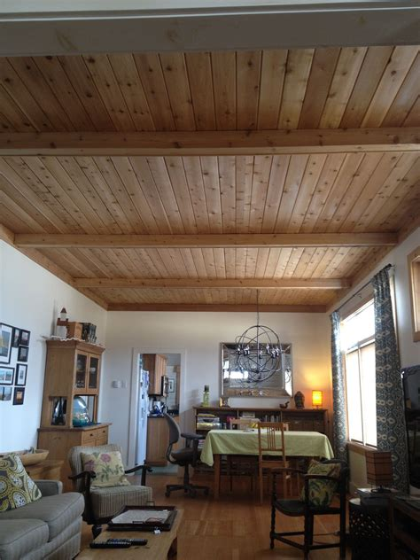 Wood Ceiling Planks by Cedar Plank Ceiling In Cottage With False Beams Kam In