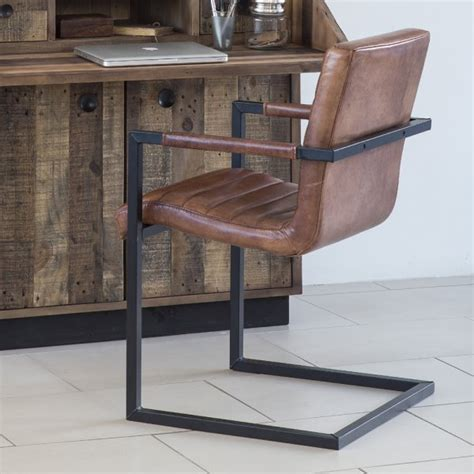 buy benson brown leather dining chair metal frame