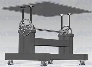 Manual Screw Lift Adjustable Height Industrial Crank Table