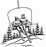 Ski Lift Couple Skiing Layered Going Illustrations sketch template