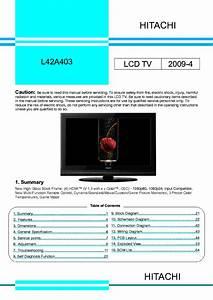 Hitachi L42a403 Lcd Tv Service Manual Service Manual