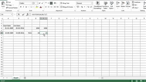 excel calculate number days months years