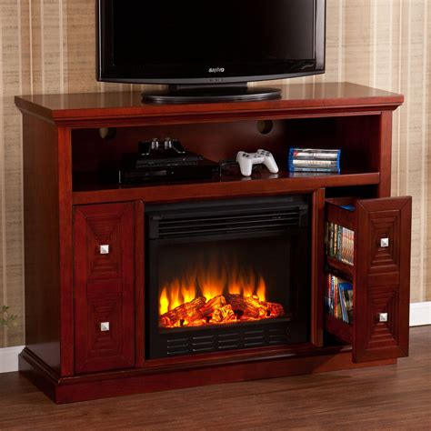 cherry media electric fireplace southern enterprises creston cherry electric fireplace
