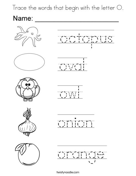colors that start with o trace the words that begin with the letter o coloring page