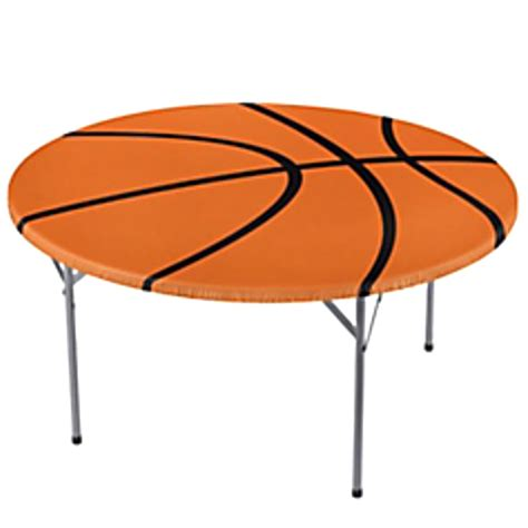 elastic edge table covers basketball round plastic table cover w elastic edge 1ct