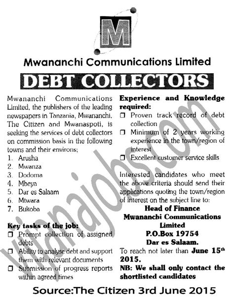 Debt Collector Description Resume by Debt Collectors Tayoa Employment Portal