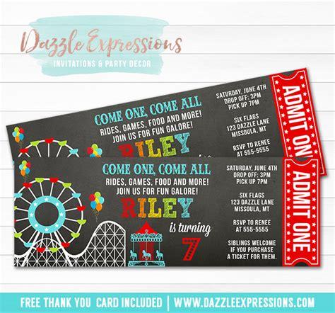 printable amusement park chalkboard ticket birthday