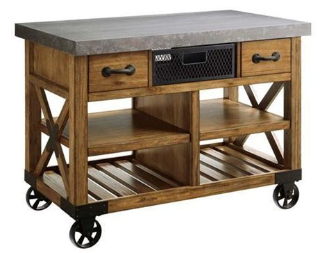 """New Large Wooden Kitchen Island cart Metal Top 48""""x26"""