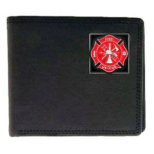 fire firefighter matlese cross logo emblem leather bi fold